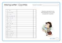 Missing Letters - Countries 2