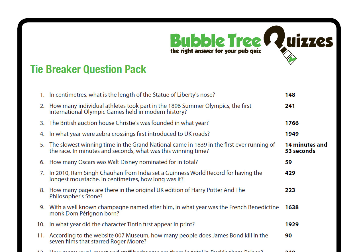Tie Breaker Question Pack